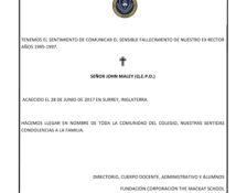 SENSIBLE FALLECIMIENTO DE NUESTRO EX RECTOR
